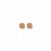 9ct Gold plain and textured knot stud earrings 1.3g